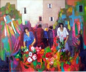 Le marché aux fleurs 65x54