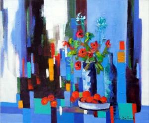 Composition bleue 73x60