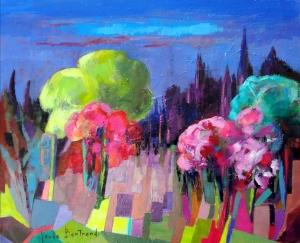 Les amandiers en fleurs 65x54